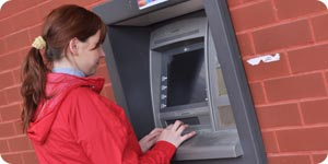 Withdrawing cash from the ATM