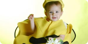 Baby dressed up in bee costume