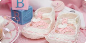 Baby booties and shower favors