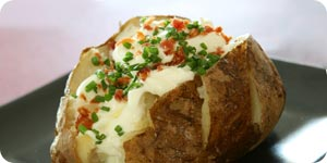 Baked potato in plate