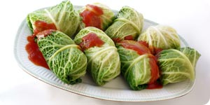 Meat rolled in savory cabbage leaves