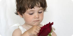 Child with rose