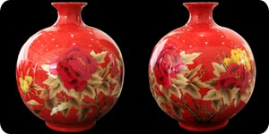 Red china made vases