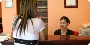Photo of desk receptionist