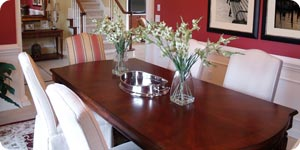 Red colored dining table