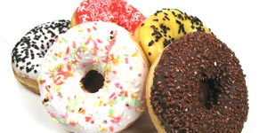 Doughnuts with colorful toppings
