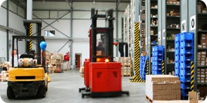 Forklifts in the warehouse