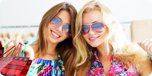Girls with fashionable sunglasses