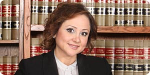 Female attorney in law library