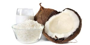 Fresh coconut meat and milk
