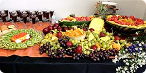 Various fruits in table
