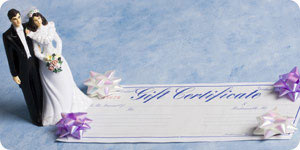 Giving wedding gift certificate