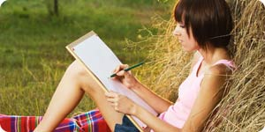 Girl and outdoor sketching session