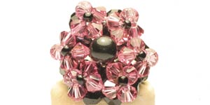 Pink and black crystal beads