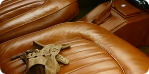Leather gloves and seat cover