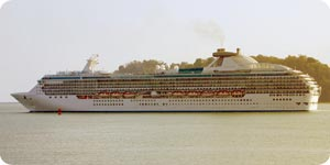 Moving cruise ship