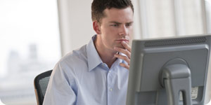Busy man searching online
