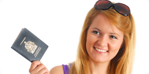 Young traveler with passport