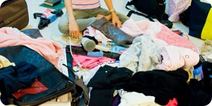 Piles of clothes