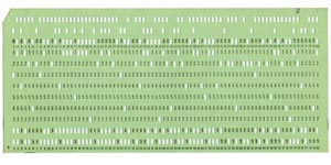 Photo of punch card