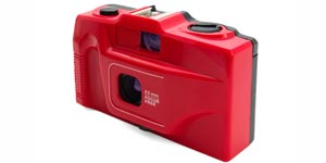 Red disposable camera