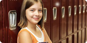 Girl and school lockers