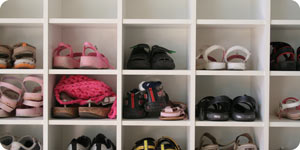 Shoes in a shoe rack