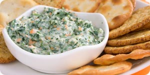 Biscuits with spinach dip