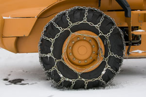 Tractor with tire chains
