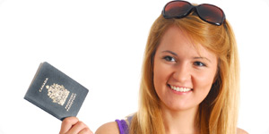 Traveler holding a passport