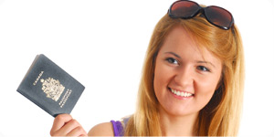 Girl holding her passport