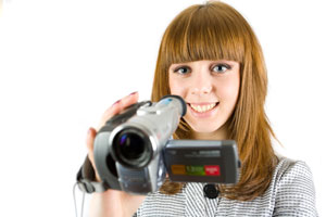Girl using her video camera