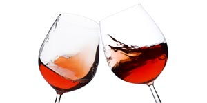 Toasting two wine glasses