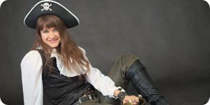 Wearing pirate costume