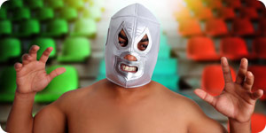 Wrestler with face mask