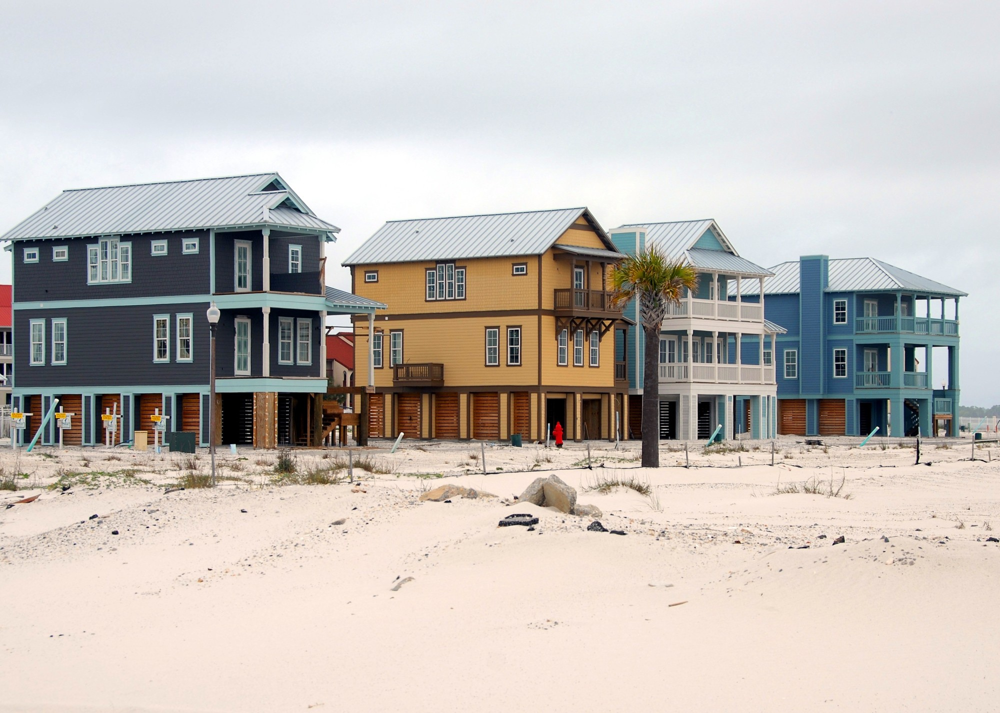 colorful beach houses in a row
