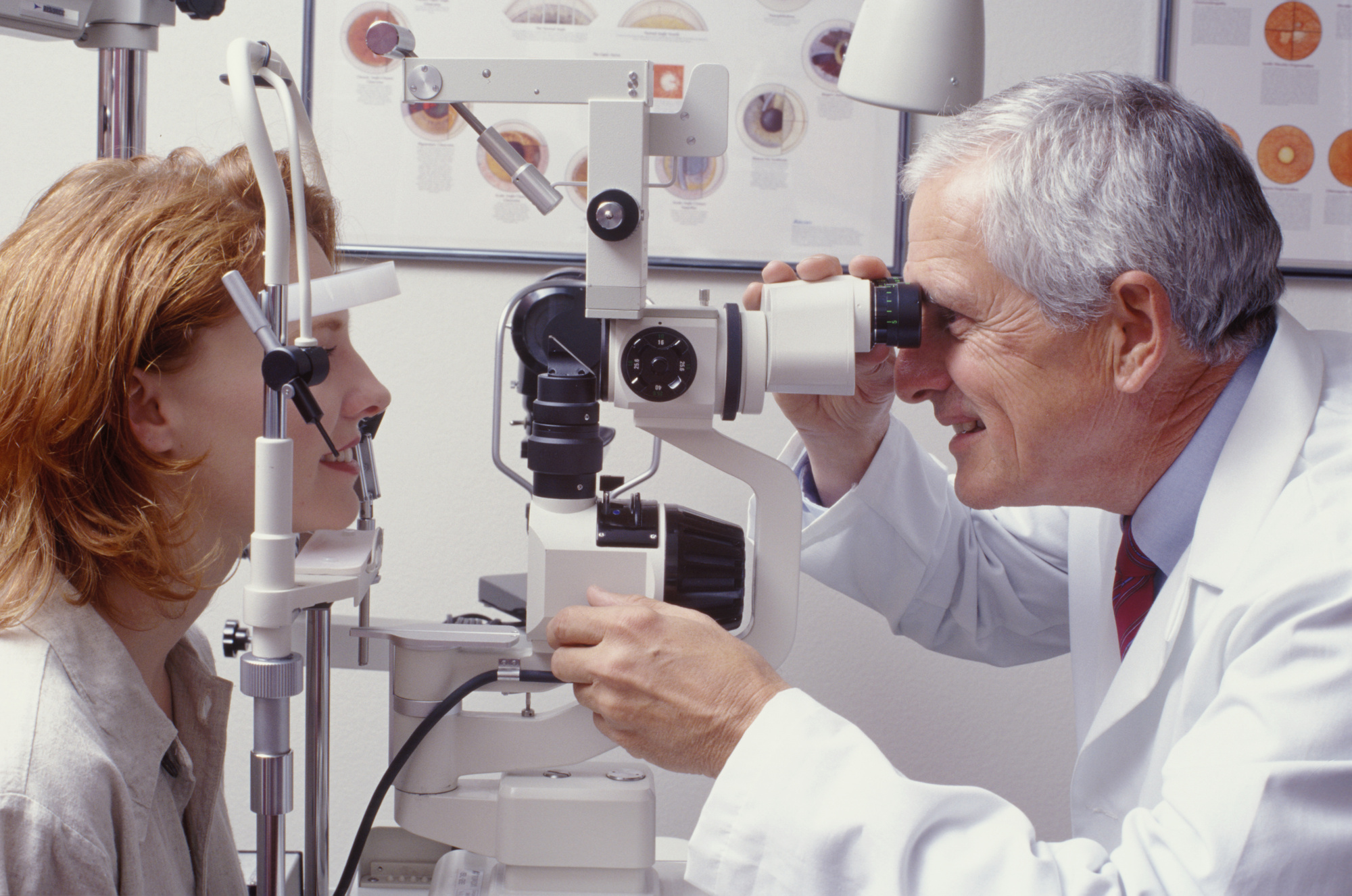 female patient having eye check-up with male doctor