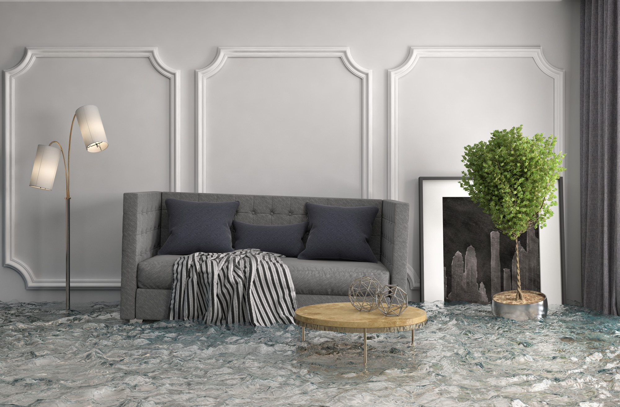 3d illustration of house interior flooded with water