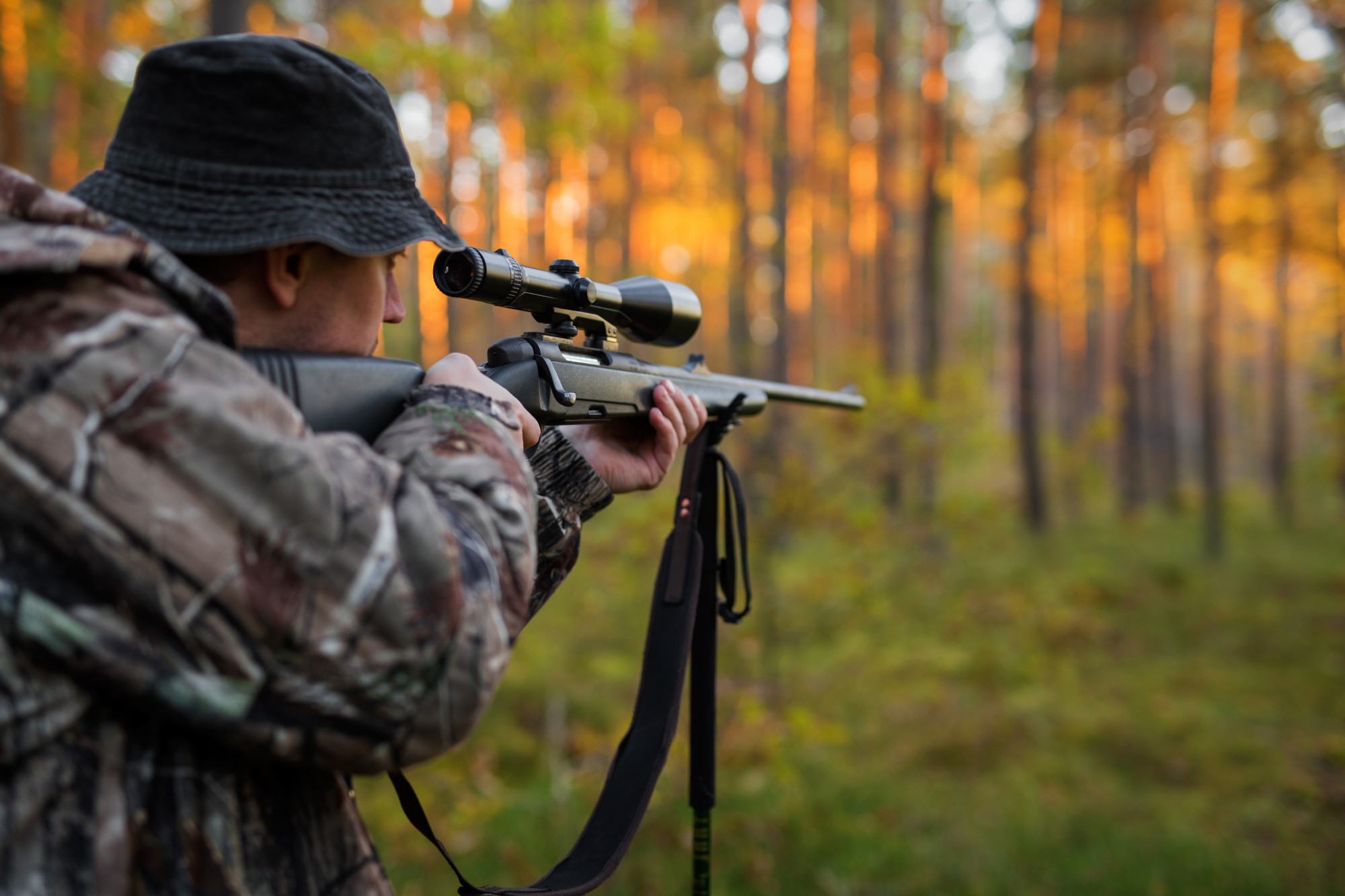 hunter with sniper rifle aiming in the forest