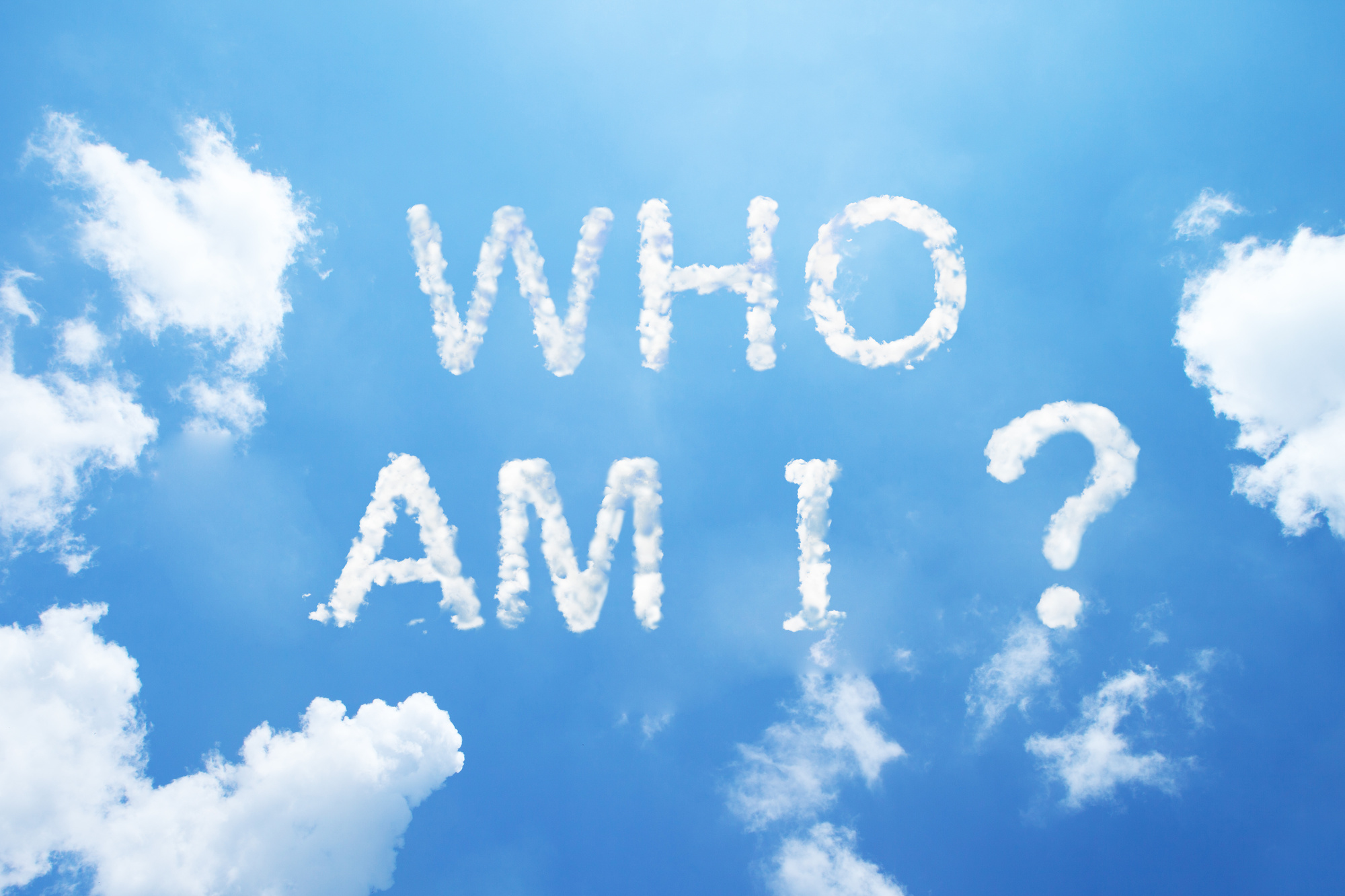 Who Am I? words made from cloud